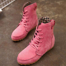 Womens Ankle Suede Autumn Boots Casual Lace up Single Flats Shoes Winter No slip