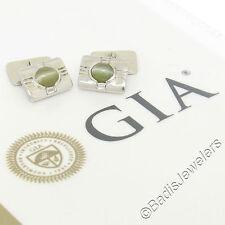 VINTAGE Birks Hombres Platino & 18ct Oro GIA Natural De Gato Ojo Diamante