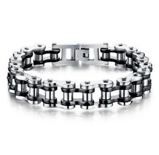 Mens Heavy Bike Chain Bracelet Silver Black Stainless Steel