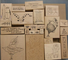Joblot Bundle of Wood Mounted Rubber Stamps by Art Impressions card making craft