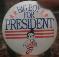 VINTAGE Promo Pinback Button  BIG BOY FOR PRESIDENT - Restaurant Pin 1980 VTG