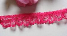 1 inch Single-Gathered Lace, fuchsia 1 yard and 16 inch cut