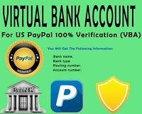 U.S. Virtual Bank Account  FOR PAYPAL VERIFICATION |NO VCC