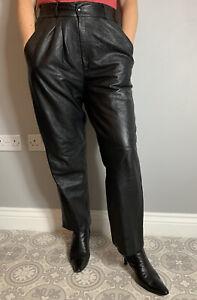 VTG 80s Look Black Soft Leather Pleated High Waist Straigh Leg Trousers UK 12 14