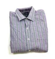 Nat Nast Luxury Originals American Fit Mens Purple Striped L/S Shirt Size Medium