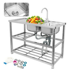 More details for stand complete set commercial double bowl kitchen sink stainless steel catering