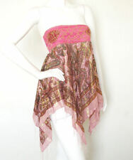 L118 Pink Hippie Gypsy Embroidered Lurex Shimmering Blouse Top / Skirt - S & M