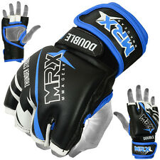 MMA Gloves Grappling Glove UFC Fight Gear Kick Boxing Leather Black Blue, Medium