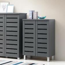 4 Tier Shoe Storage Cabinet 2 Door Cupboard Stand Rack Unit Dark Grey