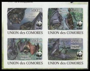 Comoro Is. WWF Livingstone's Fruit Bat 4 Imperf stamps in block 2*2 2009 MNH