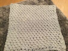 Large Chunky Handmade Crochet Grey Baby  Blanket. Brand New Super Soft Fluffy