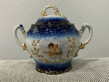 Antique Victoria Porcelain Schmidt & Co Carlsbad Austria Sugar Dish Cherubs Dec