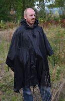 Black Emergency Ripstop Poncho - One Size Fits All Waterproof Rain Cape