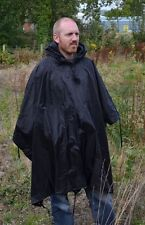 Black Emergency Ripstop Poncho - One Size Fits All Waterproof Rain Cape