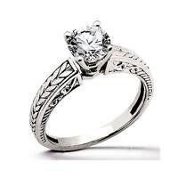 Joya De Oro Anillo Diamantes 14 K 14 Blanco Brillantes 0,40 Quilates Wesselton