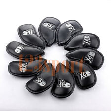 USA Set Of 10x Black Skull Golf Iron Headcover Covers For Cleveland Bridgestone