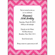 25 Personalized Birthday Party Invitations  - BP-022 Chevron Magenta Pink