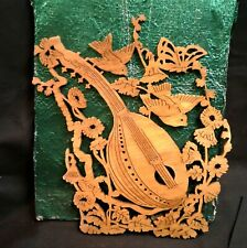 Vintage Scroll Saw Cut Mandolin Birds and Flowers Hand Made Folk Art Signed