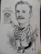 Original Christopher Davis Caricature Portrait c1886 Politician? Drum & Horn