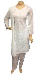 Pakistani Indian White Cotton Suit, Chikan Embroidered Salwar Kameez Shalwar
