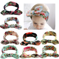Newborn Girls Bohemia Floral Rabbit Ears Hairband Turban Bow Headband New