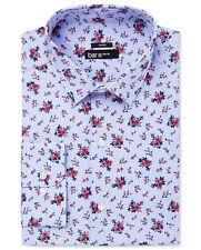 $95 BAR III Men SLIM-FIT BLUE WHITE RED FLORAL COLLAR DRESS SHIRT 15-15.5 32/33