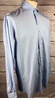 Peter Millar Men's Seaside Finish Blue/White Striped Long Sleeve Cotton L Shirt