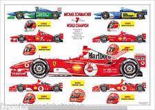 Michael Schumacher ltd.ed.art print - all his championship cars