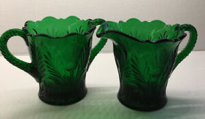 Mosser Glass THISTLE Emerald Green Creamer And Sugar Bowl RARE