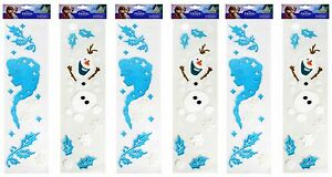Christmas Window Decoration Gel Stickers Frozen Elsa Olaf Snowflake Decal 6 Pack