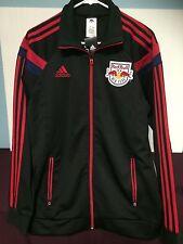 NY Red Bull ADIDAS MLS Jacket Black Red Stripes Size XL Unisex