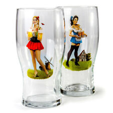 2 Glass Beer Stein Mugs 17 fl oz with German Pin Up Girls Decal Bavaria German