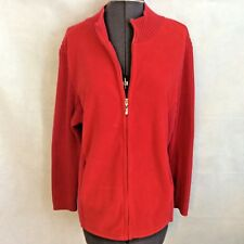 CJ Banks Womens Cardigan Sweater Size 1x Red Fleece Cable Knit Zip Holiday Xmas