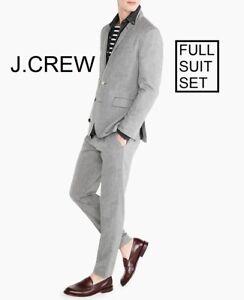 J.CREW Ludlow slim suit cotton linen light grey 34S blazer 28 x 32 pants jacket