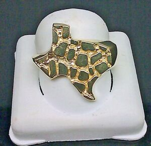 Solid 10k Yellow Gold Texas Ring Nugget Ring Mens Band Casual Pinky, 10, Sizable