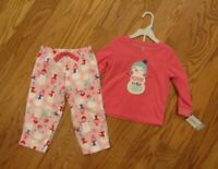 Carter's Toddler Girls 2 Piece Pink Snowmen Winter Fleece Pajama Set Size 24 Mo