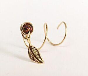 9K Gold Spiral Leaf Feather Earring Threader Opal Piercing October Birthstone