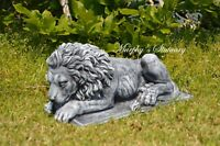 Rustic Style Solid Concrete Forward Facing Laying Majestic Lion Garden Statue