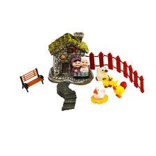 Miniature Cottage + Accessories Fairy Garden Set by Mowbray Miniatures (7 pcs)