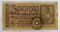 GENUINE 20 REICHSMARK NAZI GERMANY CURRENCY NOTE WW2 /1939-45