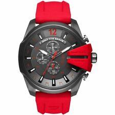 DIESEL Mega Chief Gunmetal Dial Red Silicone Band Men's Chronograph Watch DZ4427