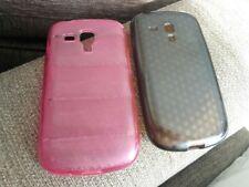 Funda de silicona rosa y marrón parte trasera para Samsung Galaxy Trend