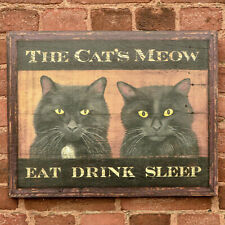"""The Cat's Meow"" - Tavern Pub Bar Sign - Antique Look Repro of Original Art"