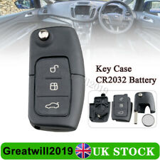 For Ford Fiesta Focus Mondeo C-Max S-Max Galaxy 3 Button Flip Key Case Battery