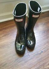 Hunters Original Rain Boots womens short Black Gloss, US size 8 EU