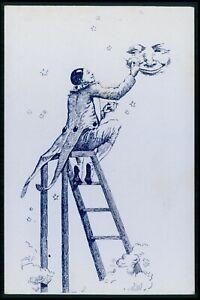 b advertising Champagne Mercier French wine risque donkey original 1900 postcard