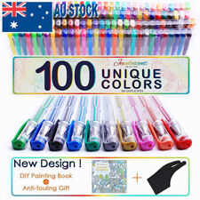 Professional 100 Color Gel Pen Paint Book Craft Drawing Glitter Neon Metallic