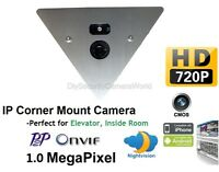 720P Corner Mount HD IP Camera, 2.8mm Wide Angle Lens Onvif, P2P, Audio, IR