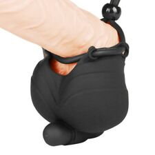 Vibrating Male Scrotum Squeeze Ring Chastity Cage Ball Stretcher Enhancer Toy