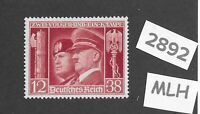 #2892     MLH Adolph Hitler & Mussolini stamp 1941 Third Reich era Germany